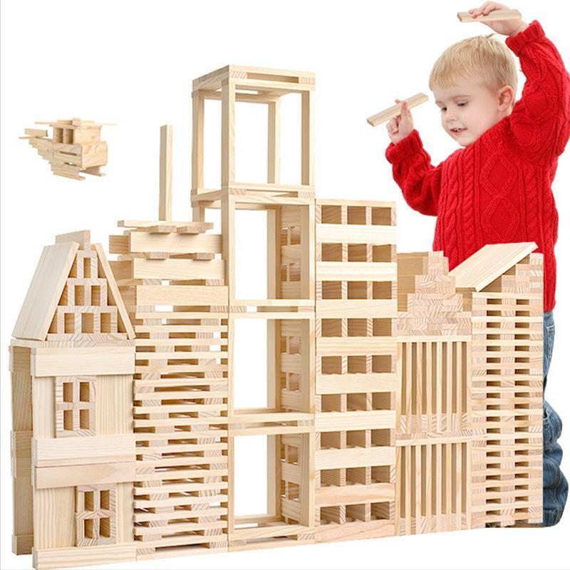 100% blocs en bois véritable bois naturel couleur extrait 100 pièces/ensemble bloc de construction Domino Architecture jouets éducatifs Jenga jeu