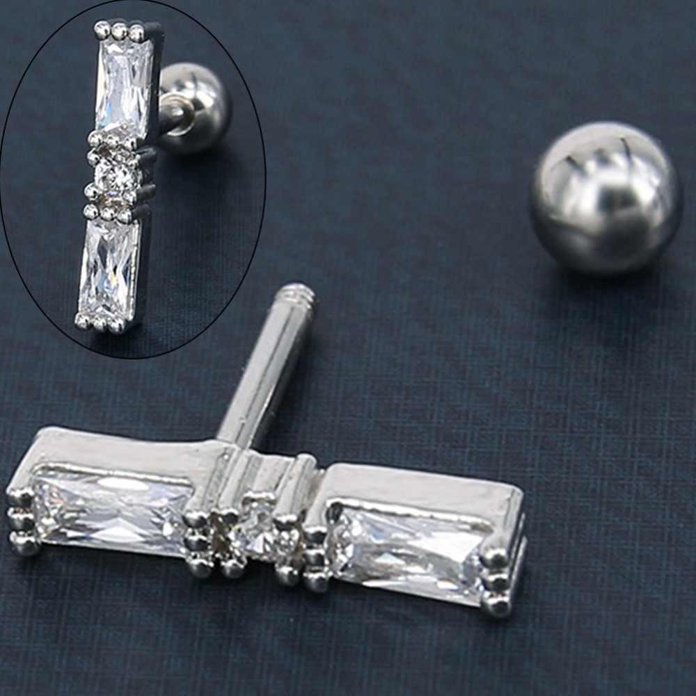 1 Pair Medical Titanium Steel Zircon Earring Studs Barbell Cartilage Ear Piercing Nails Body Jewelry Gauge 16g