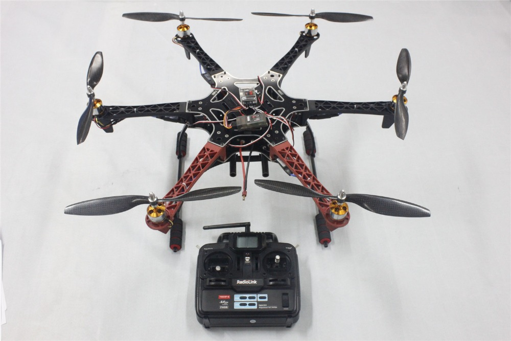F05114-O F550 Drone FlameWheel Kit With QQ ESC Motor Carbon Fiber Propellers + RadioLink 6CH TX RX+Tall Landing Skid PTZ FPV