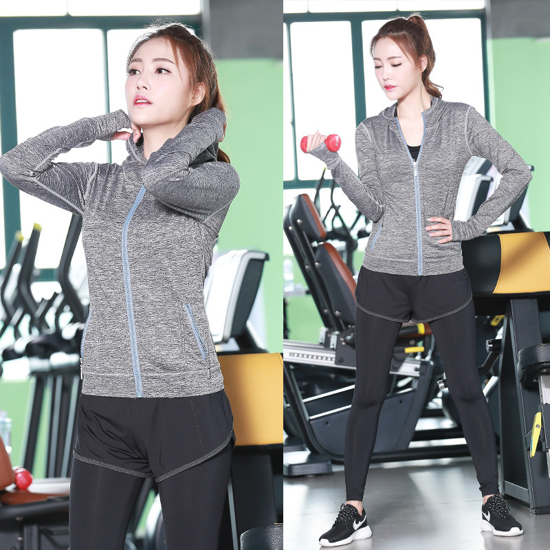 ФОТО yoga woman A three-piece sets Hat style frauen kleidung outdoor fitness running patchwork sport suitt Free delivery