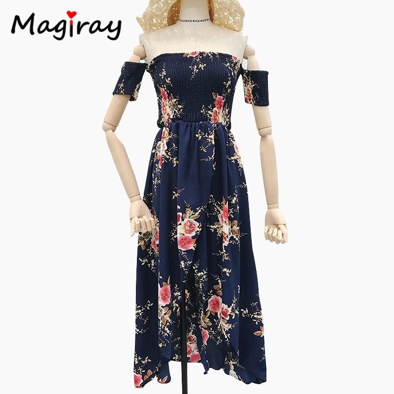 Women's Clothing Magiray 2019 Boho Floral Print Summer Long Dress Vestidos Women Off Shoulder Vintage Chiffon Beach Maxi Dress Robe Femme C130 Reputation First