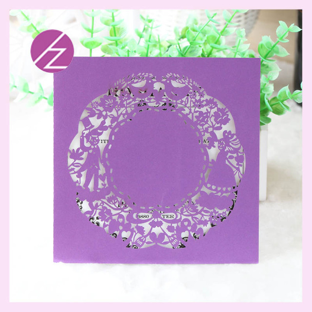 US $14 98 |Free shipping Wholesale luxurious Laser Cut baby naming ceremony  Wedding Invitations cards Elegant Ribbon Invitation Card QJ 159-in Cards &