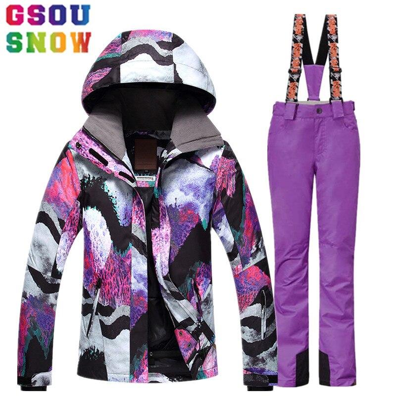 GSOU NEIGE Costume De Ski Femmes de Ski Veste Pantalon Hiver En Plein Air Pas Cher Ski Costume Étanche Snowboard Veste Pantalon Coupe-Vent Vêtements