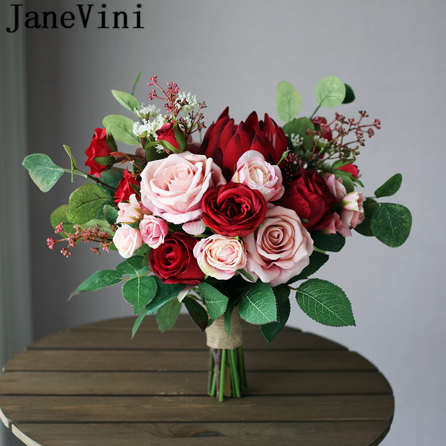 JaneVini Vintage Red Wedding Flowers Bridal Bouquet Artificial Blush Pink Roses Emperor Flower Brides Bouquet Mariage Rouge 2019
