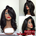 Parte lateral onda do corpo rendas frente perucas de cabelo sintético completa peruca ondulado glueless parte dianteira do laço curto perucas para as mulheres negras