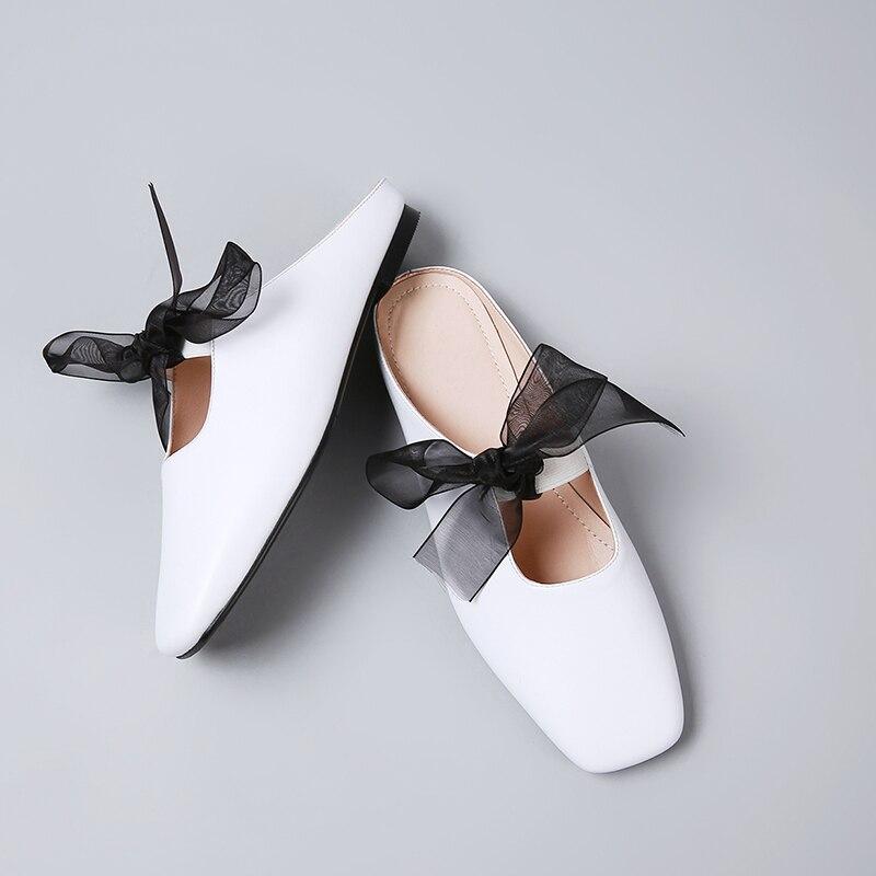 Appartements Coréenne on Style En Mules Dentelle up white Femmes Loisirs Chaussures Slip De Été Cuir Véritable Bowtie Diapositives Black Sandales Confortable OPZwkXTiu