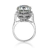 עיצוב יוקרה 5 CT AINOUSHI בציר עתיקים עגולים לחתוך Fabulous חתונת אירוסין SONA טבעת כסף סטרלינג אמיתי 925