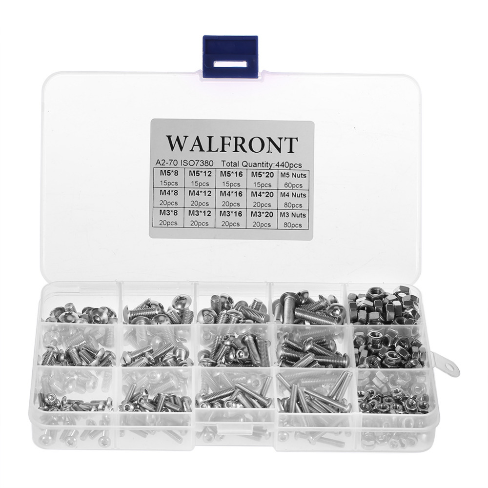 440pcs/set M3 M4 M5 Bolts Screws and Nuts Stainless Steel SS304 Hex Socket Button Head Assortment Set Fastener Hardware 60pcs box stainless steel m4 screw kits hex socket head cap screws m4 6 8 12 16 20 25mm fastener assortment kit hardware tools
