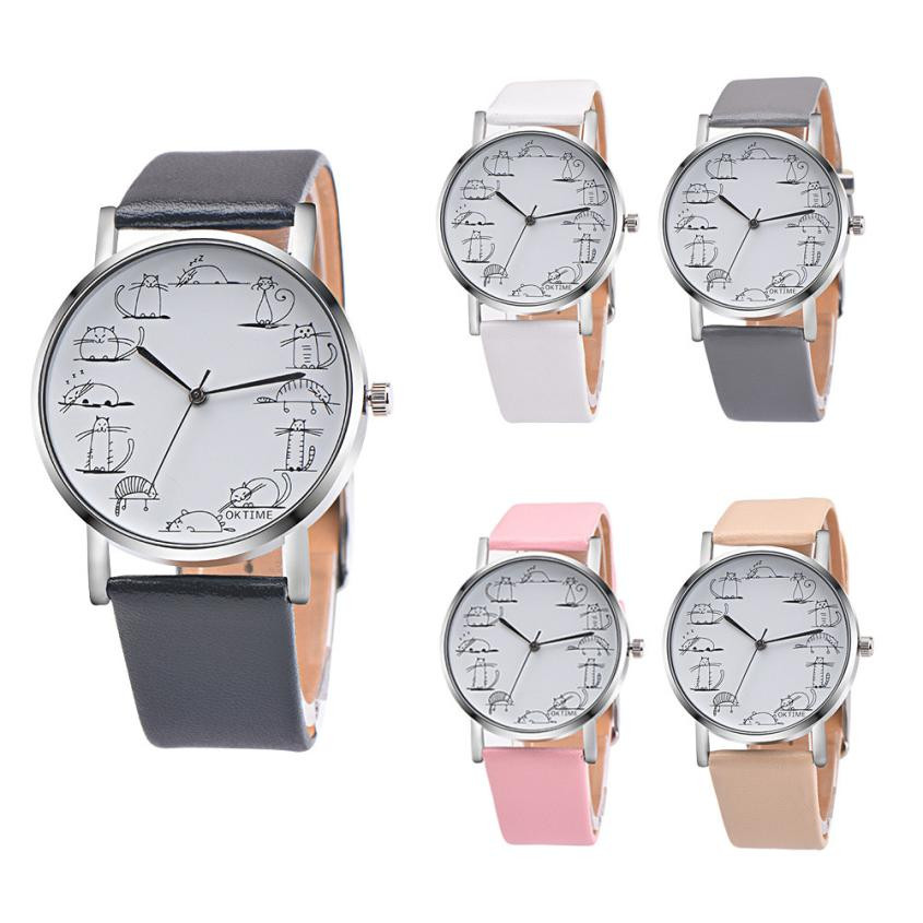 Retro Design Lovely Cartoon Cat Leather Band Analog Alloy Quartz Wrist Watch relogio feminino Leather clock women 2018 Hours retro design leather band analog alloy quartz wrist watch relogio feminino women watches reloj mujer bayan kol saati