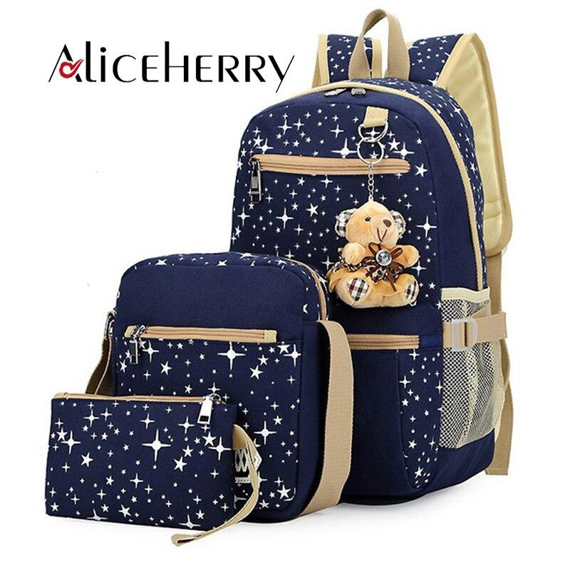 Women Canvas 3 Pcs/set Backpacks For Teenage Girls School Bags Large High Quality Mochila Fashion Women's Bear Backpack