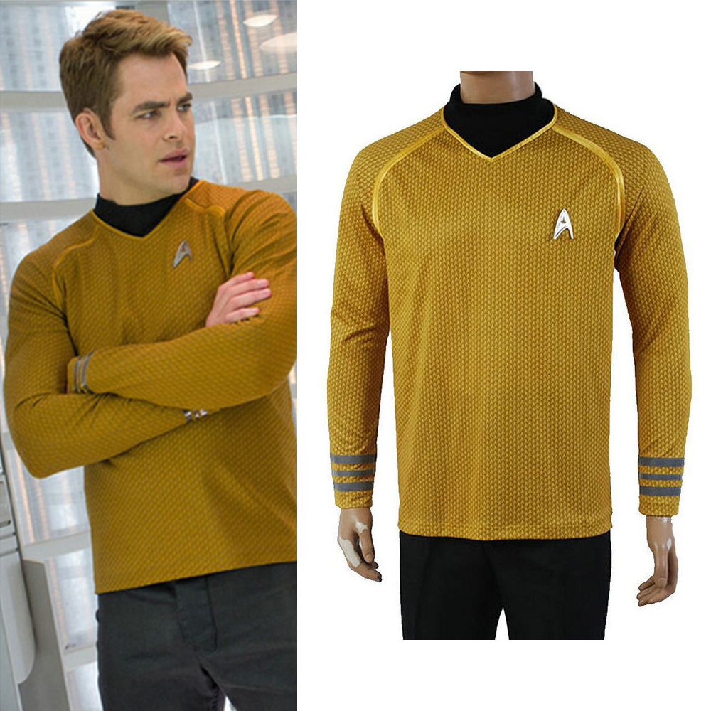 Star Trek Into Darkness Captain Kirk Shirt Uniform Cosplay Costume Yellow Version Size S-XXL Men full Set With Badge