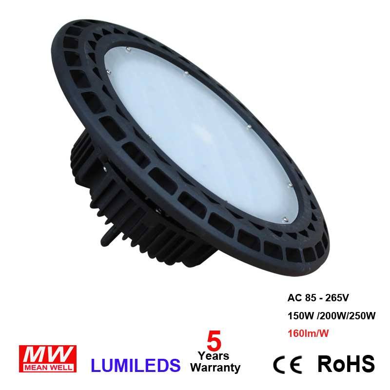 LED UFO High Bay Light, 200W, 22,880Lm, (800W Eq.), Daylight 5000K, AC 110-277V Waterproof, IP65, Area Warehouse LED