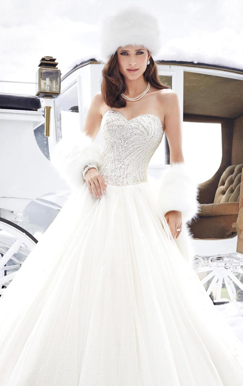 Princess A Line Winter Wedding Dresses 2017 Sweetheart Glitter Top ...