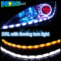 2x Car Flexible Drl With Flow Turnlight White Amber Switchback LED Knight Rider Strip Light For