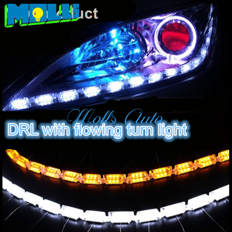 2x Car Flexible drl with flow turnlight White/Amber Switchback LED Knight Rider Strip Light for Headlight DRL Turn Signal 6pcs 60cm flexible tear strip switchback daytime running light drl with turn signal light 7 dual color fd 4767