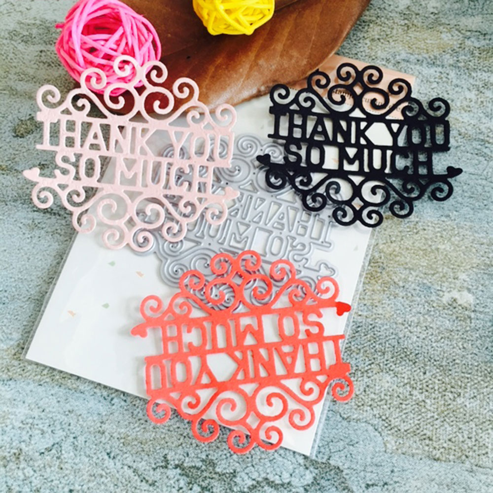 General NEW THANK YOU Stencil Embossing Mold Silver Decoration Album Book Scrapbooking DIY Word Cutting Dies Moulds