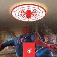 Человек паук красный цвет Современные светодиодные потолочные светильники деко chambre garcon avize с дистанционное управление plafondlamp светильник д