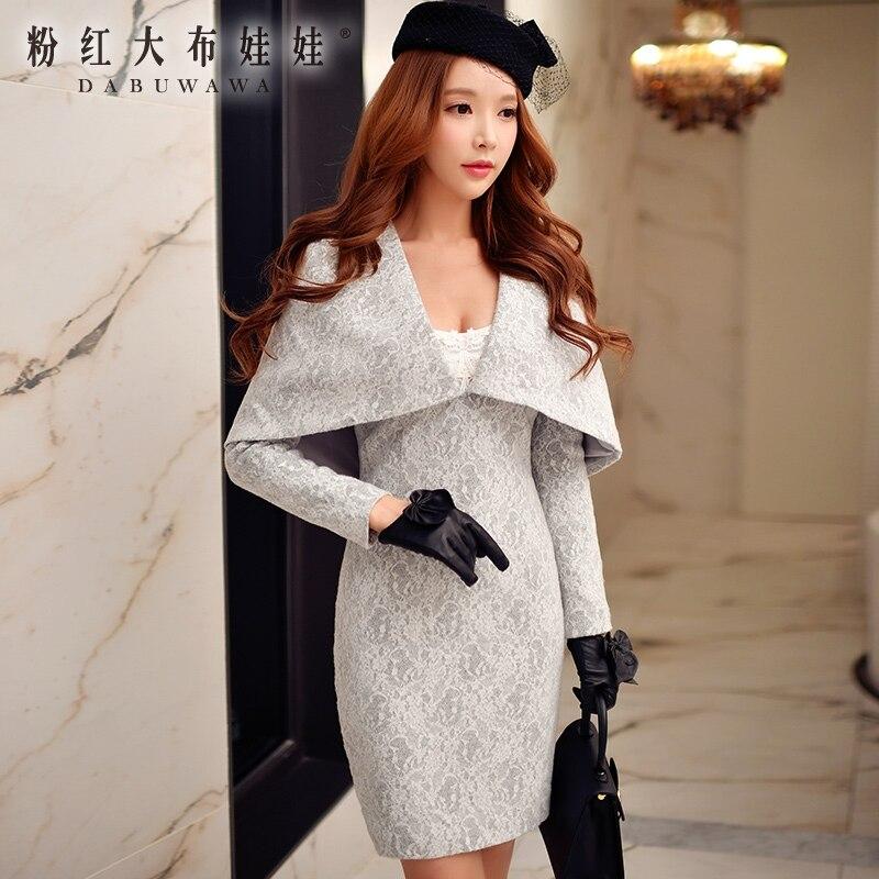 Оригинальный длинные Платье с рукавами 2016 женская новая на осень зиму дамские модные облегающие бедра кружевное с вышивкой вечернее платье