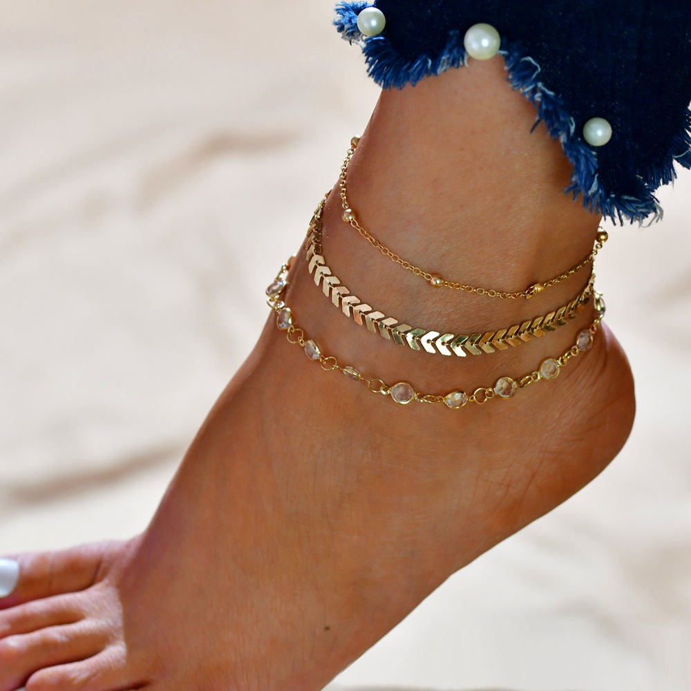 3 pcs/Set Vintage Statement Crystal Sequins Anklet Set Beach Foot jewelry Boho Style Party Summer Jewelry For Women Wholesale 3