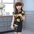 Дети Девушки Летние Цветочные блузка + Юбка Костюм 2017 новый Корейской версии топы юбка из двух частей детские наборы красный