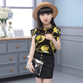Kids Girls Summer Flower blouse + Skirt Suit 2017 new Korean version tops skirt two piece children's sets red