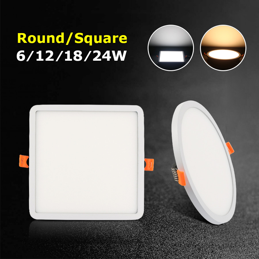 LED Down Light Ceiling Wall Square Recessed 24w 18W 12W 6W Led Panel Light Downlight 110V 220V Round Aluminium Flat Leds Indoor