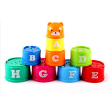 9PCS Mini Bear Stack Cup Educational Baby Toys Rainbow color Figures Folding Tower Funny Piles Cup Letter Toy for Kids цена