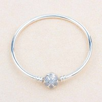 Microdoraset 925 Sterling Silver Charm snowflake bangle diy for original fashion jewelry women accessories trendy charms bangles