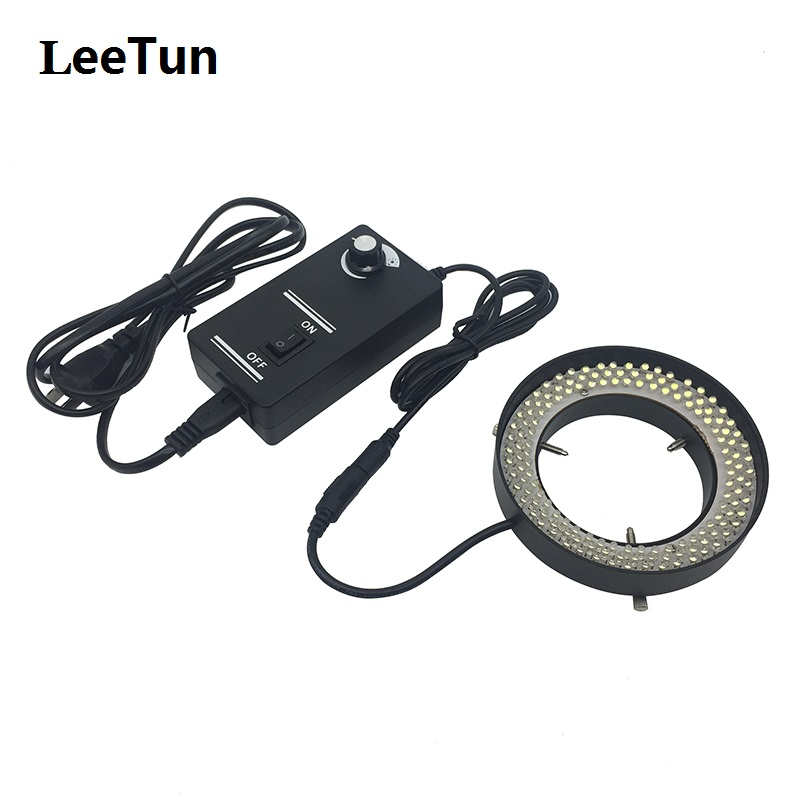 LeeTun LED Ring Light Source 72 mm Inner Diameter Brightness Adjustable 144 LEDs for Stereo Microscope Illumination White Light