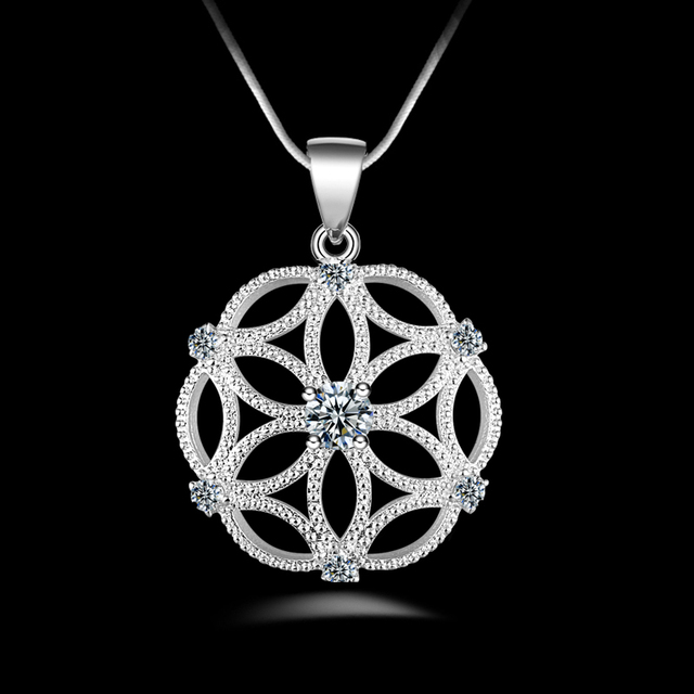 Jexxi hot ball flower shinning 925 sterling silver necklace cubic jexxi hot ball flower shinning 925 sterling silver necklace cubic zirconia neckalce chain nice pendant elegant mozeypictures Image collections