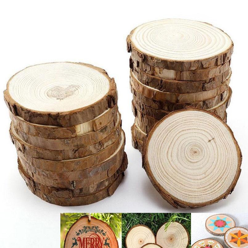 5Pcs Unfinished Natural Round Wood Slices Diy Crafts