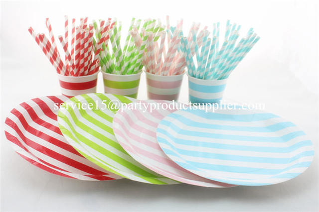 Free Shipping Multi-Color Striped Tableware Set Paper Cups Plates Bags Straws and Wooden Cutlery  sc 1 st  AliExpress.com & Free Shipping Multi Color Striped Tableware Set Paper Cups Plates ...
