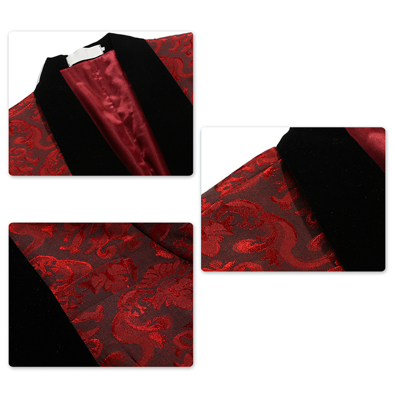 Белый, красный ободок, сценическая одежда для мужчин, мужской костюм, мужские свадебные костюмы, костюм, смокинг жениха, официальный (пиджак ... - 5