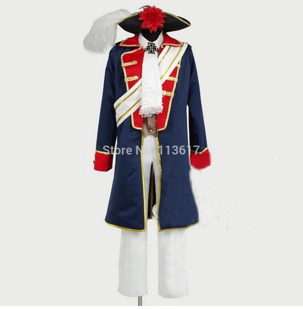 HOT!APH//Axis Power Hetalia Costume Cosplay Seven Years War Spain:Free shipping