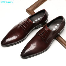 QYFCIOUFU 2019 New Handmade Genuine Leather Men's Dress Shoes Luxury Fashion Men Shoes Wedding Lace-up Pointed Toe Oxford