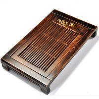 solid wood tea tray chinese character tea table Charcoal wood tea board plastic layer wooden serving tray Chinese tea plate new