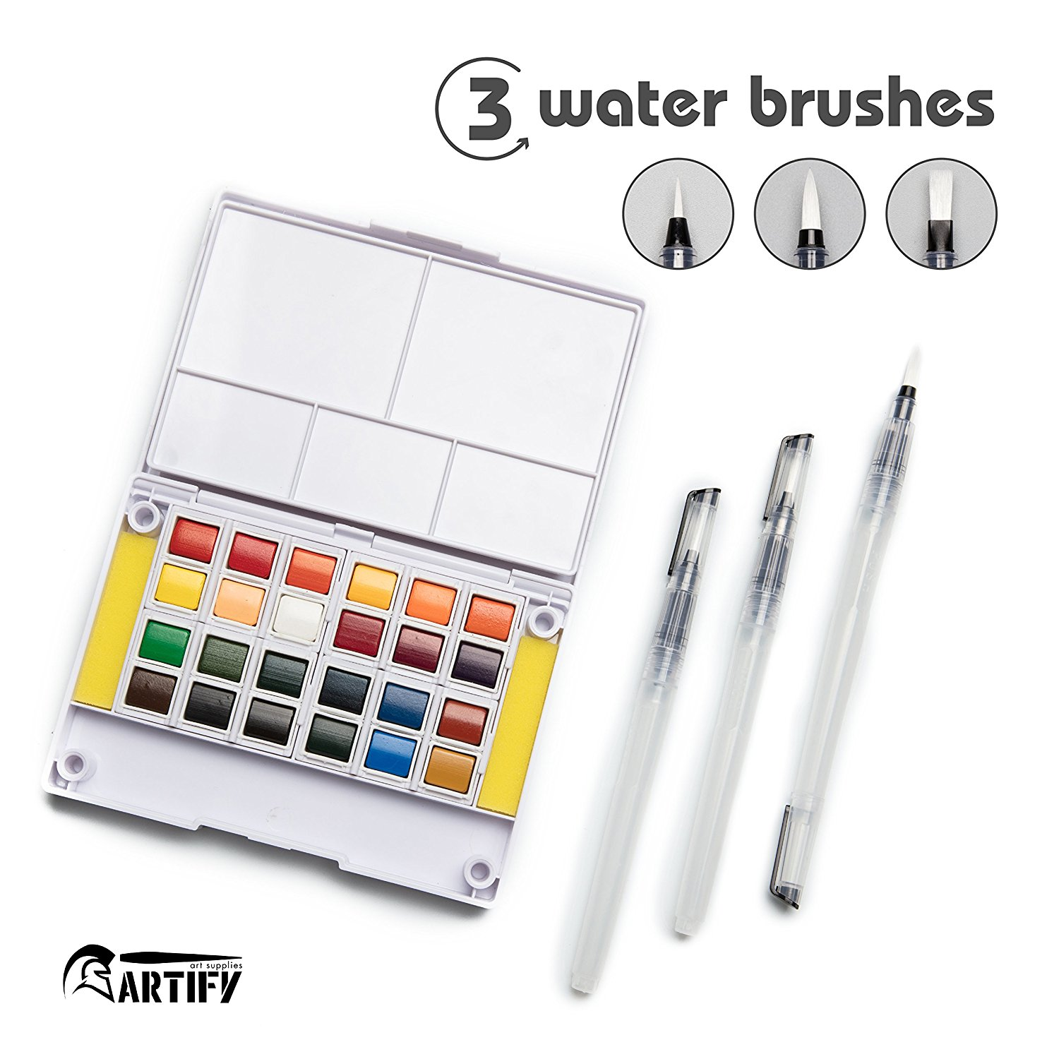 Watercolor Field Sketch Set - 24 Assorted Colors with 3 Brushes - Perfect Watercolor Pan Set for Watercolor Paintings & Cartoons все цены
