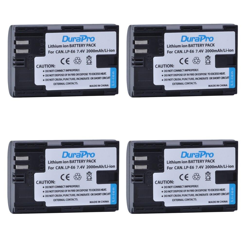 DuraPro 4 pièces LP-E6 LP E6 batterie Rechargeable pour Canon EOS 5DS R 5D Mark II 5D Mark III 6D 7D 60D 60Da 70D 80D DSLR EOS 5DS R