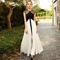Год сбора винограда способа горошек марли лоскутное черный и белый цвет блока элегантный модальные расширение нижней полный dress one-piece dress
