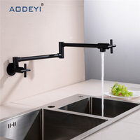 Kitchen Tap Brushed Nickel ORB Wall Mounted Pot Filler Faucet with 24 Double Jointed Swinging Spout From