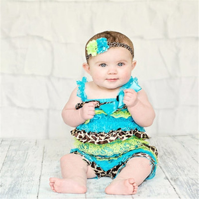 Baby Girl Lace Romper Girraffe Satin Tuiquose Cake Smash Infant Jumpsuit Summer Clothes Baby Costume Newborn Clothes girl