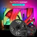 5V 5050 RGB Led bande Dream color WS2812b Smart Pixel Strip USB pour HDTV ordinateur de bureau écran TV rétro éclairage WS2812 Ambilight Kit|LED Bandes| |  -