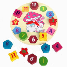 Montessori Toys Educational Wooden Toys for Children Early Learning Colorful Digital Geometry Clock Mathematics Counting Toy