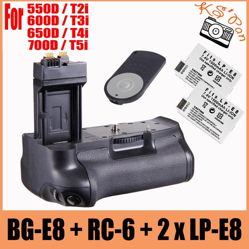 Poignée de batterie verticale multi-puissance comme BG-E8 BG E8 + 2x LP-E8 pour Canon EOS 700D 600D 550D 650D T2i T3i T4i T5i + RC-6 à distance