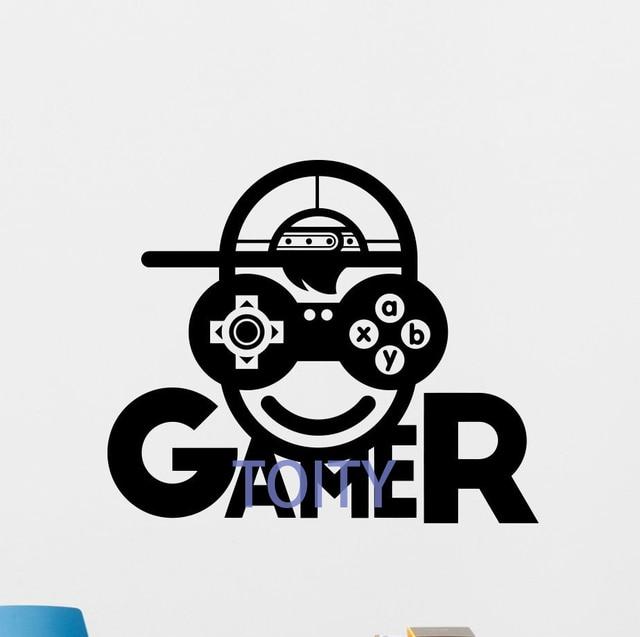 Gamer Wall Decal Video Game Vinyl Sticker Kids Gaming Decor Poster