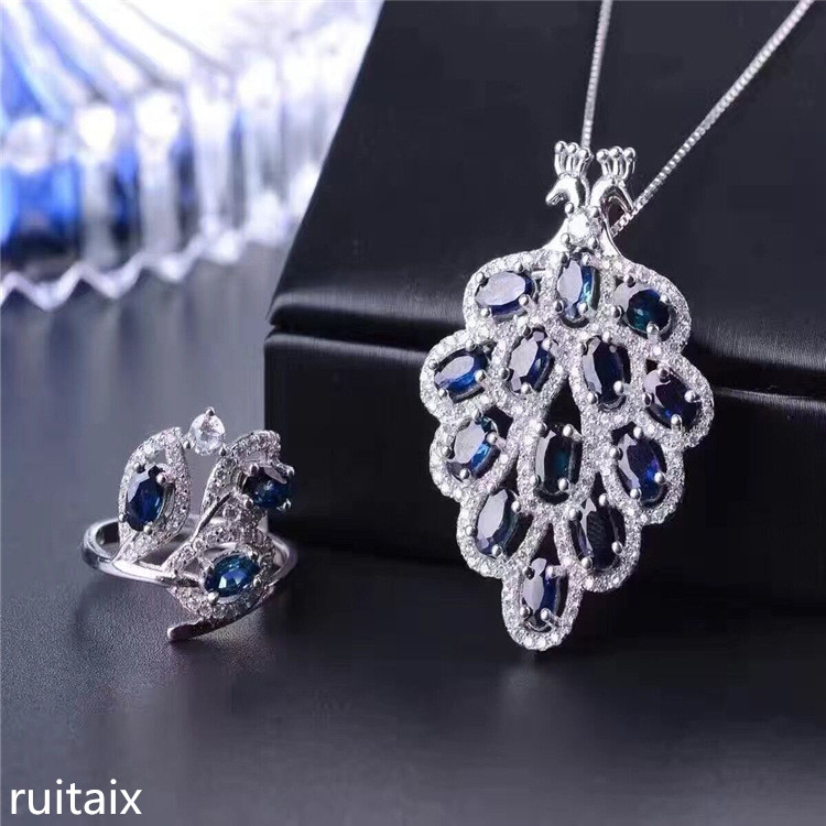 KJJEAXCMY boutique jewels S925 silver inlay natural sapphire inlay diamond phoenix style pendant + necklace + ring gifts 1 pair square faux sapphire inlay hairpin