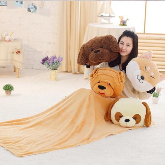Qualité mignon oreiller en peluche chien avec main chaude et couverture en peluche coussin en peluche jouet plancher prix