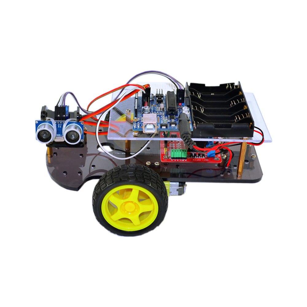 все цены на Ultrasone obstakel vermijden Chassis Kit Speed Encoder Batterij Box Tracking Obstakel vermijden intelligente Smart Robot Car онлайн