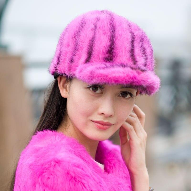 Ladies winter fur mink hat female cute peaked cap skullies beanies mink mink wool hat hat lady warm winter knight peaked cap cap peaked cap
