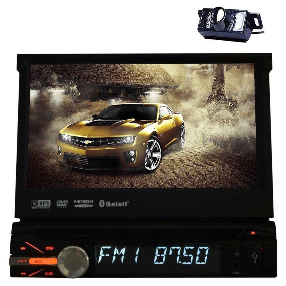 1 Din Car Stereo DVD Player 7 inch HD Touch Screen GPS Navigation FM/AM Radio iPod Bluetooth Support USB 8GB GPS Map Card+Camera